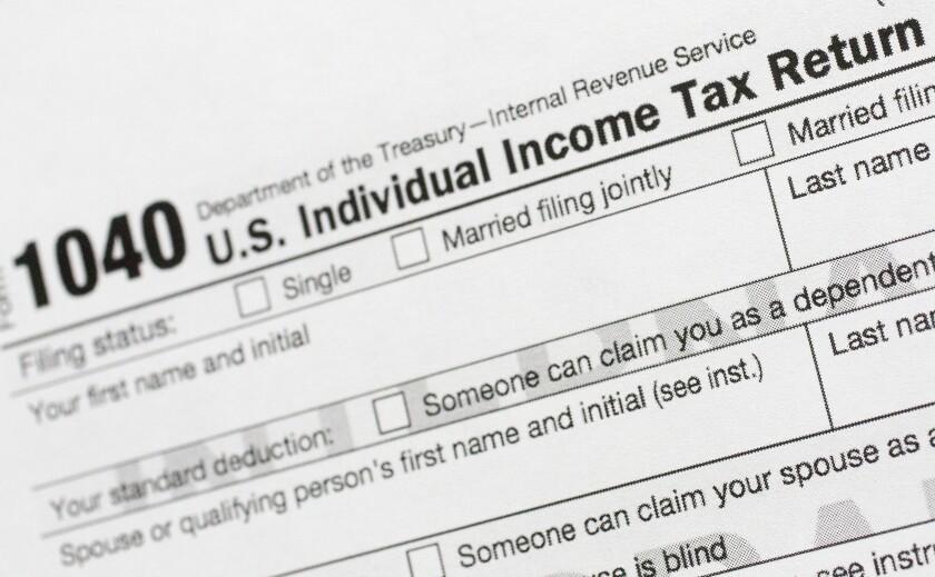 An IRS 1040 tax return form