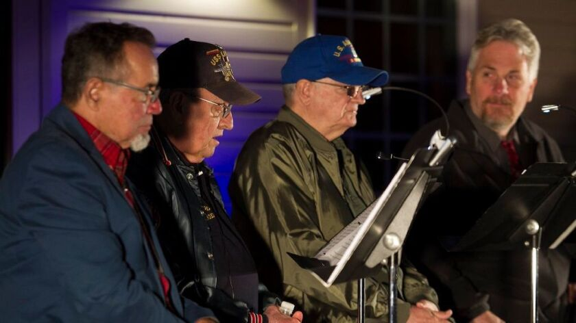 Richard Castro, Donald Pageler, Frank Barry and Bruce Olav Solheim, from left, participate in the Vo