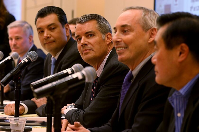 Republican Pete Petersen, center, is seen in March participating in a forum for California secretary of state candidates. To his right are Alex Padilla and Derek Cressman; to his left are Dan Schnur and Leland Yee.