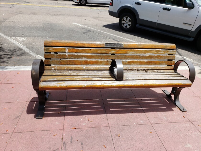 Wood benches in The Village, such as this one, will be refurbished starting in late June, according to La Jolla MAD.