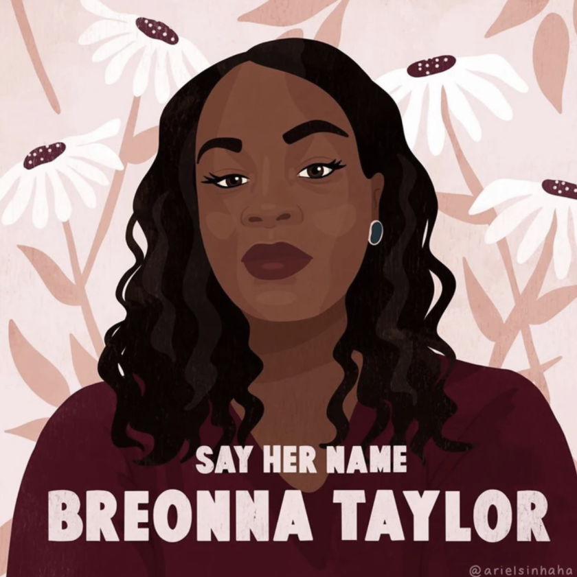 A piece of art for a campaign seeking justice on behalf of Breonna Taylor, killed by police in Louisville, Ky.
