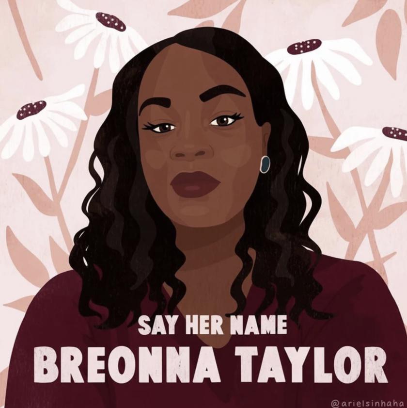 Una obra de arte para una campaña en busca de justicia para Breonna Taylor, asesinada por la policía en Kentucky.