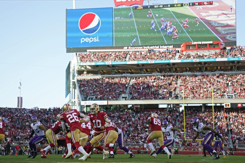 San Francisco 49ers play an NFL divisional playoff game against the Minnesota Vikings on Jan. 11 in Santa Clara.