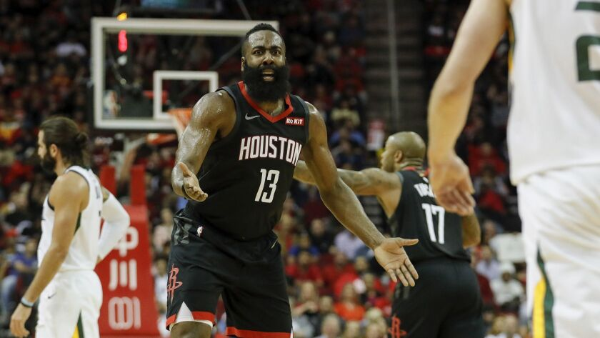 James Harden reacts to a foul in the second half.