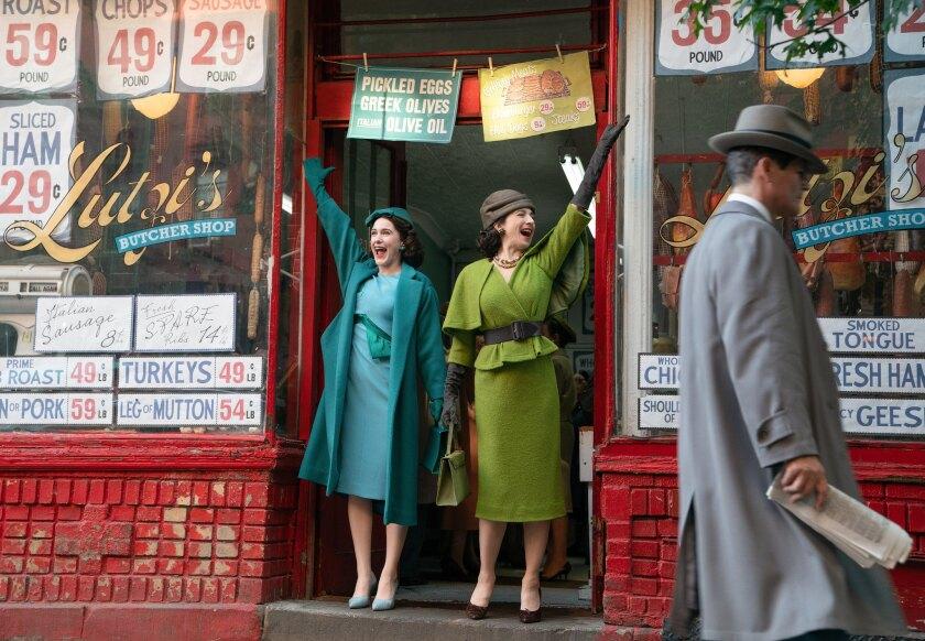 "Rachel Brosnahan and Marin Hinkle in ""The Marvelous Mrs. Maisel"""