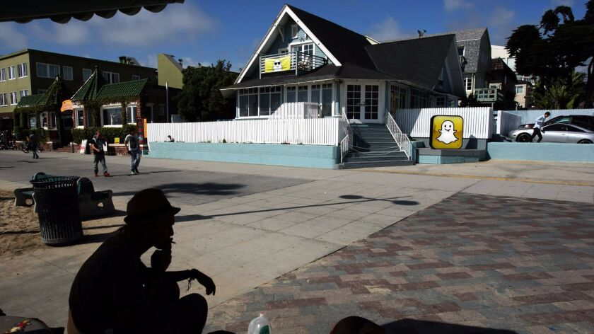 VENICE, CA - MAY 6, 2013 -- The offices of Snapchat is located along Ocean Front Walk in Venice on M