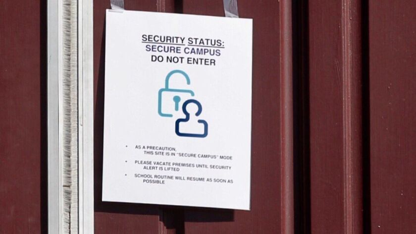 """A sign was posted on a door at Grossmont High School proclaiming the school was on """"secure campus"""" m"""