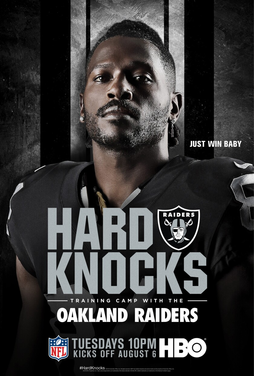 "Oakland Raiders wide receiver Antonio Brown on the poster for ""Hard Knocks"""