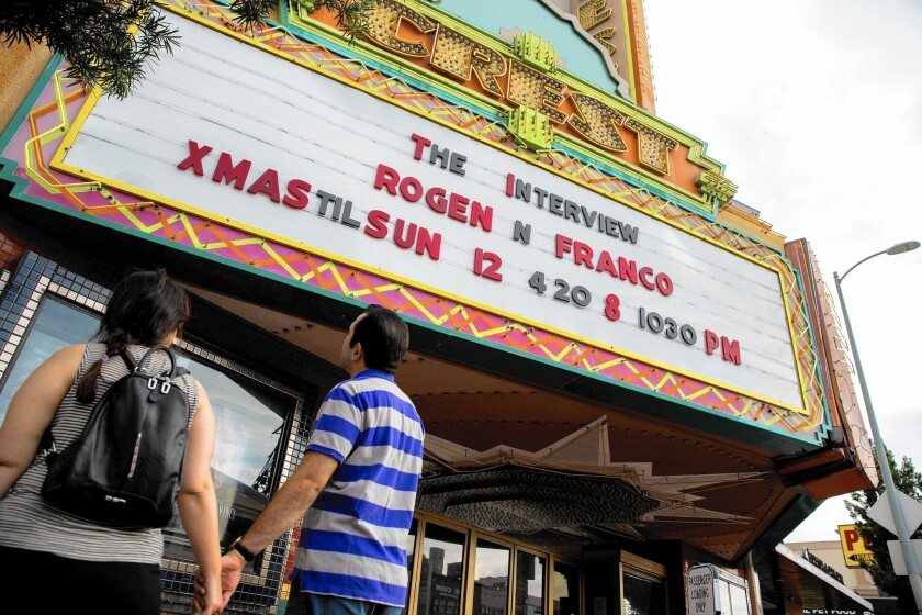 """The Crest in Westwood is among the theaters showing """"The Interview"""" on Christmas Day."""