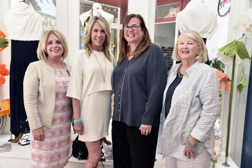 Nancy Doyle, Wine, Women & Shoes 2019 co-chair/SeaBiscuitDelMar.com shop owner Patty Brutten, co-chair Marine Marrelli, Voices for Children Co-Founder Kathryn Ashworth