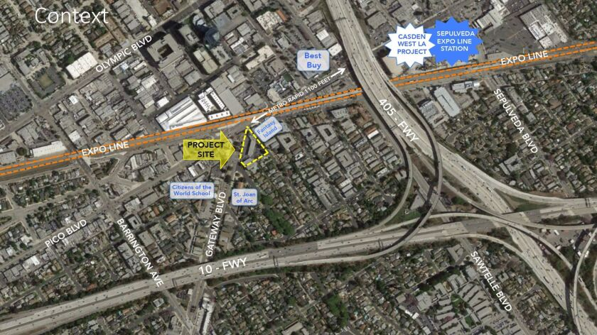 """An annotated aerial photograph shows the proximity of the project, """"11460 Gateway,"""" to Pico and the"""