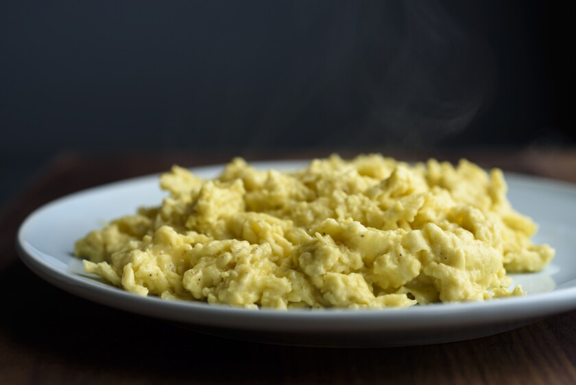Scrambled eggs ready to eat in New York.