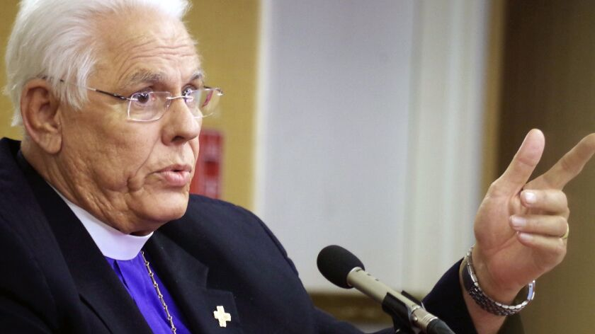 Bishop J. Jon Bruno of the Episcopal Diocese of Los Angeles testifies during his March disciplinary hearing in Pasadena.