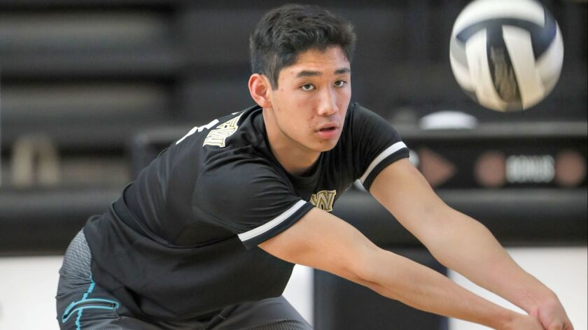 Westview's Adam Chang warms up prior to the match his team won, 3 games to 1.