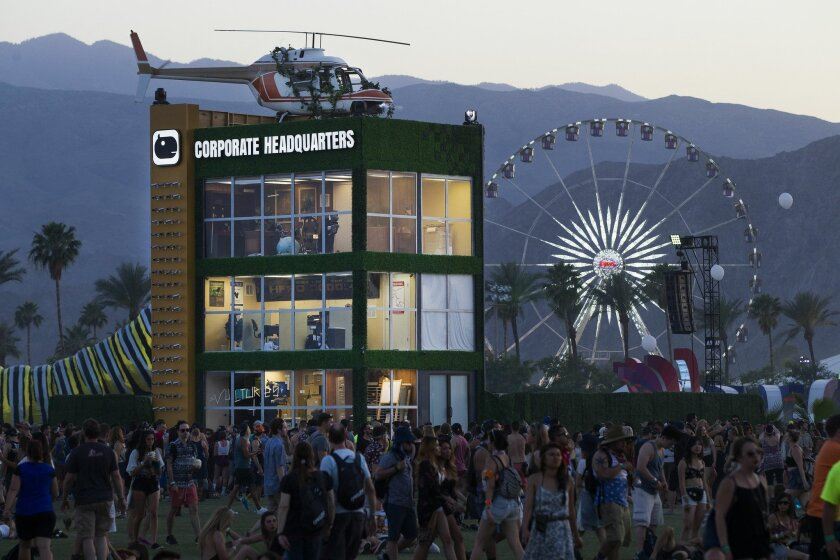 Art installations have become a major facet of the Coachella Valley Music and Arts Festival. This faux office building, which satirized corporate culture, was designed and built for Coachella's 2015 edition.