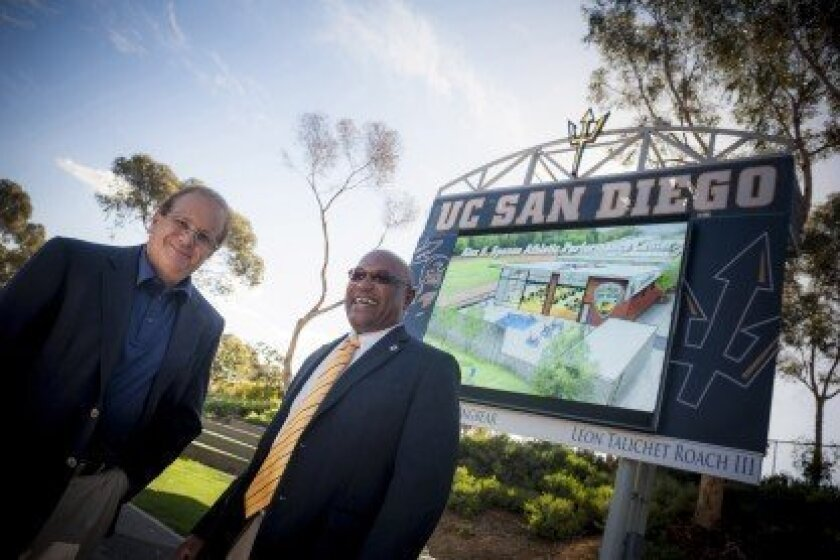 Spanos (left) is a resident of La Jolla, he is pictured here with UC San Diego Athletic Director Earl Edwards. Photos Erik Jepsen/UC San Diego.
