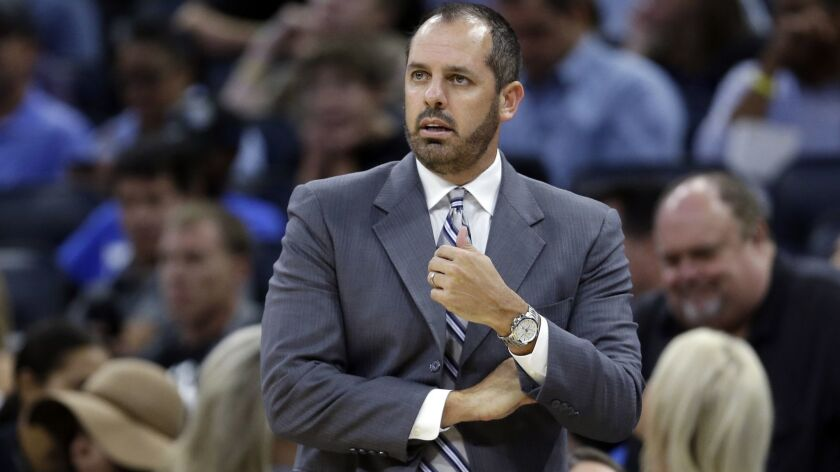Frank Vogel, shown coaching the Orlando Magic in 2017, became the Lakers' head coach on May 11.