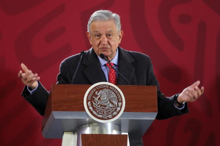 Mexican President Andres Manuel Lopez Obrador speaks during his morning press conference at the National Palace in Mexico City, Mexico, on Jan. 10, 2019. Lopez Obrador said security would be bolstered along 1,600 kilometers of state oil company Pemex's pipeline network to prevent fuel theft. EPA-EFE/SASHENKA GUTIERREZ