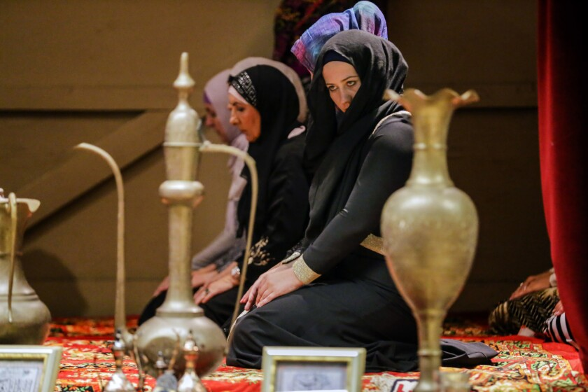 Bosnian Muslim women offer Maghrib prayers after breaking their daytime fast. Many Bosniak women wear the hijab only during prayers.