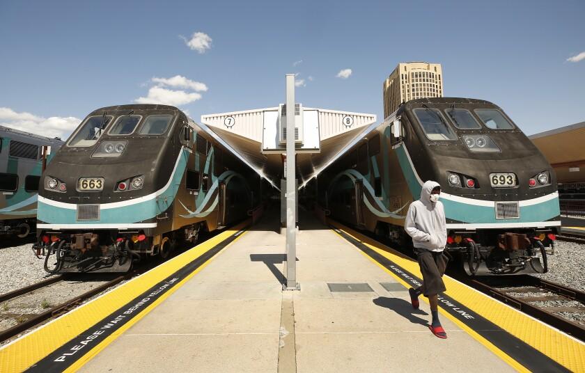 Metrolink train getting ready to depart Union Station