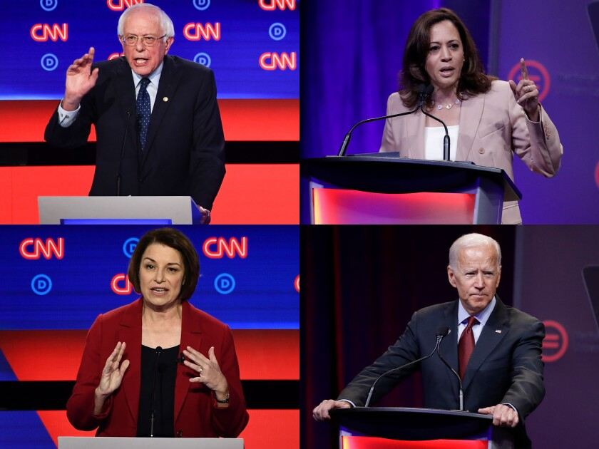 Clockwise from left: Democratic presidential candidates Kamala Harris, Joe Biden, Amy Kolbaucher and Bernie Sanders will attend the UnidosUS conference in San Diego on Monday as they try to earn support from Latino community leaders and activists.