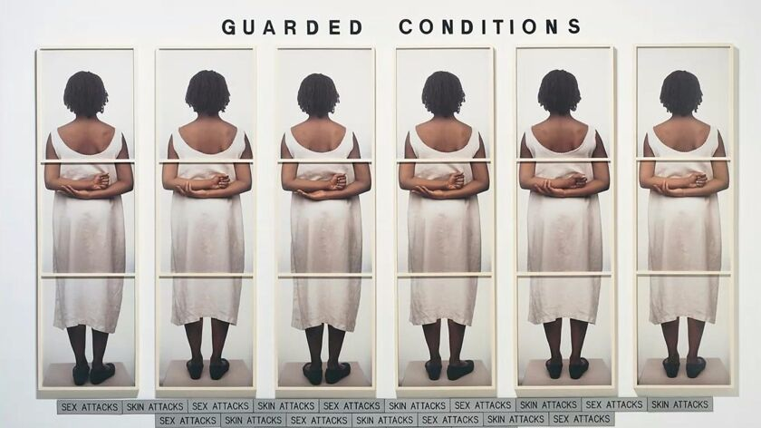 """Lorna Simpson's """"Guarded Conditions"""" is a conceptual work combining text and photography."""