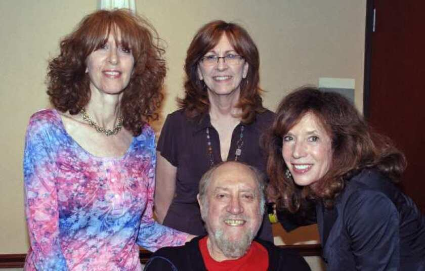 Fred Weintraub with, from left, his daughter Barbara, Joan Cappocchi and his wife, Jackie at Buna Vista Library.