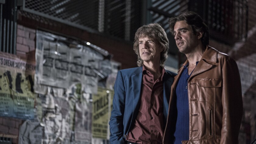 """Executive producer Mick Jagger, left, and actor Bobby Cannavale on the set of """"Vinyl's"""" pilot episode."""