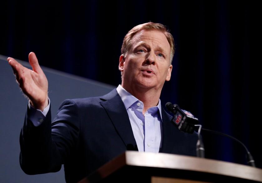 NFL commissioner Roger Goodell speaks during a Super Bowl LIII news conference.