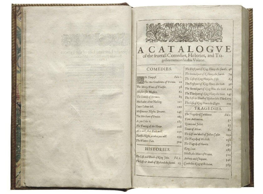 The table of contents of the Shakespeare First Folio, 1623.