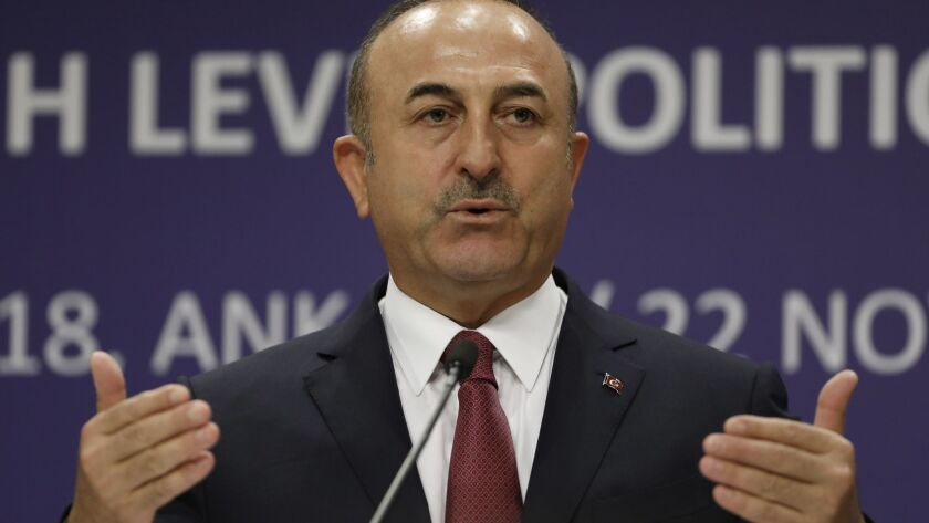 Turkish Foreign Minister Mevlut Cavusoglu speaks during a news conference in Ankara, Turkey, on Nov. 23.