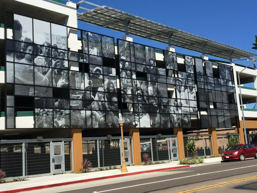 The Chavez Car Park in Barrio Logan features photos shot by Carlos LeGettette, a former assistant to Cesar Chavez. The structure will be dedicated Wednesday.