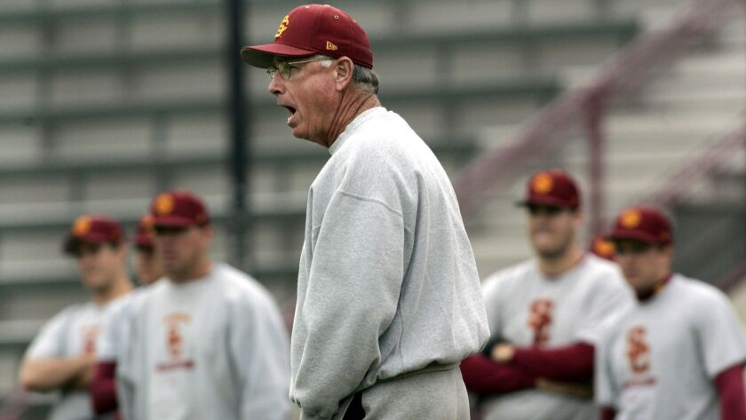 Mike Gillespie during practice while USC coach