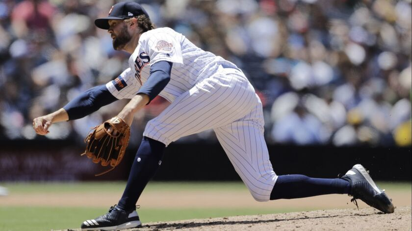 Padres reliever Adam Cimbers works against the Atlanta Braves this past Wednesday.