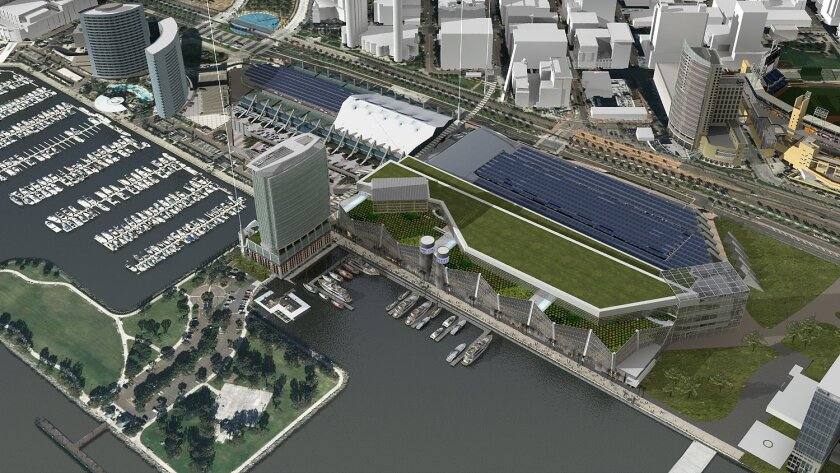 <p>  An artist's rendering of an expanded San Diego Convention Center. The proposed expansion on the bay side would add nearly 400,000 square feet to the structure.  <em>  Image by Joe Cordelle.  </em> </p>
