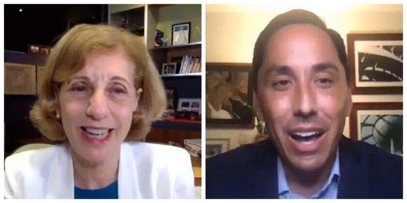 San Diego mayoral candidates Barbara Bry and Todd Gloria in an online forum presented by the Ocean Beach Town Council.