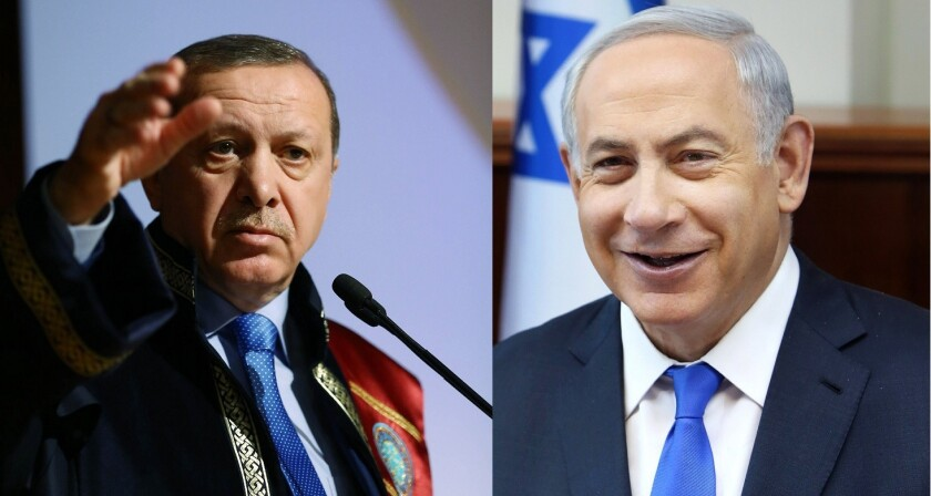 Recep Tayyip Erdogan and Benjamin Netanyahu