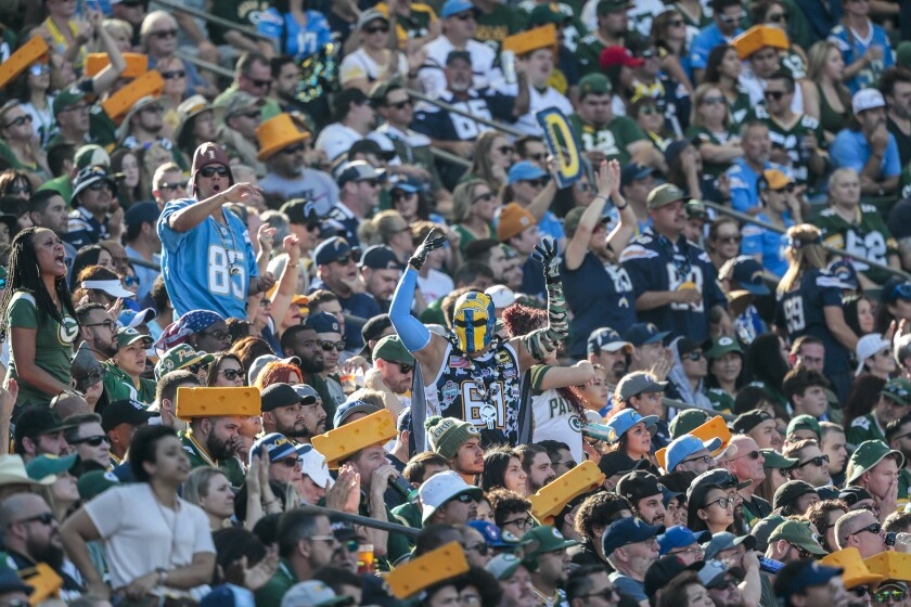 Chargers fans are outnumbered by Green Bay Packers fans Sunday at Dignity Health Sports Park.