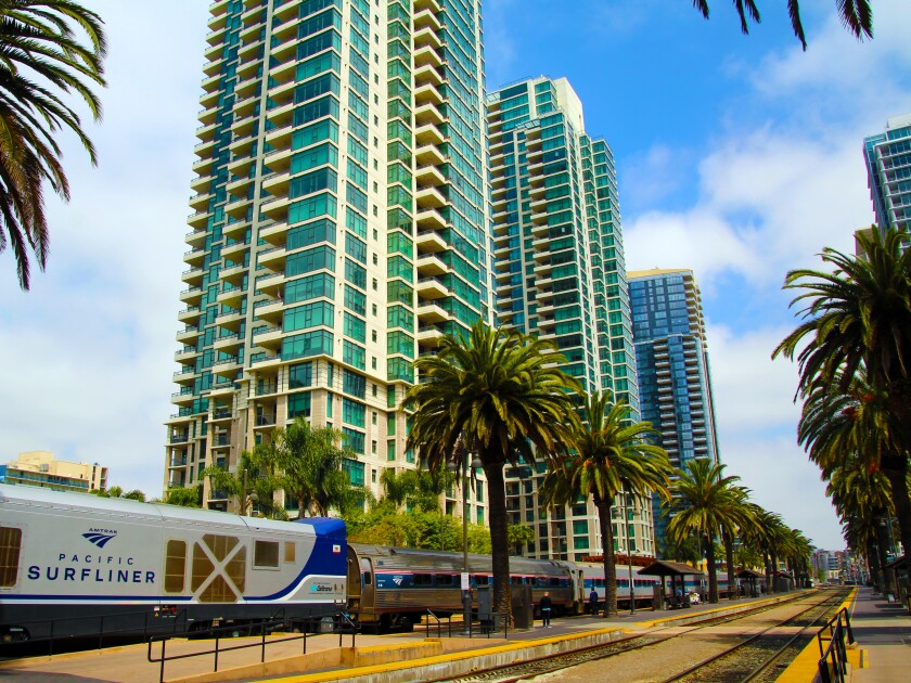 Amtrak's Pacific Surfliner travels from San Diego's Santa Fe Depot along a 351-mile coastal route, stopping at 27 stations along the way.