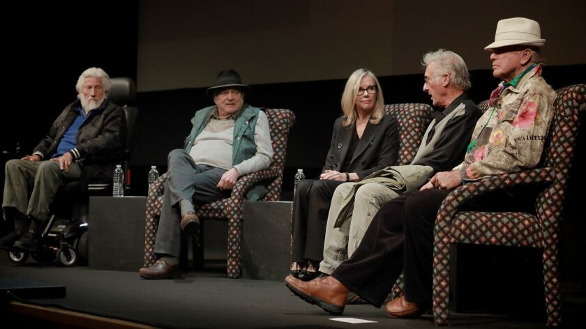 Larry Bell, second from left, with the late Ed Moses, Hunter Drohojowska-Philp, Ed Ruscha and Billy Al Bengston discussngi the L.A. art scene at the Broad Stage in 2017.