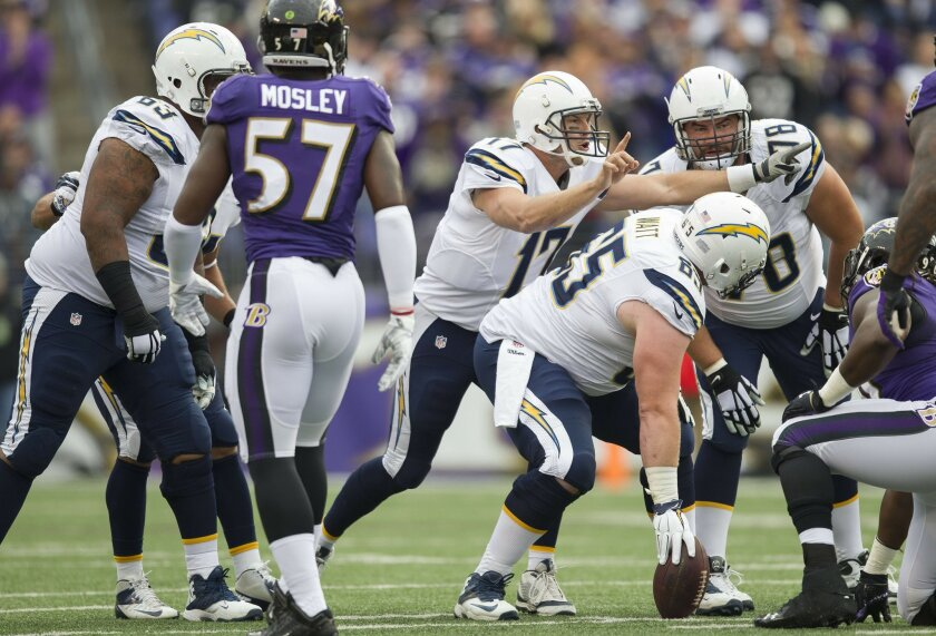 San Diego Chargers vs. Baltimore Ravens at M&T Bank Stadium. San Diego Chargers quarterback Philip Rivers (17), San Diego Chargers center Chris Watt (65), andSan Diego Chargers guard Chad Rinehart (78).