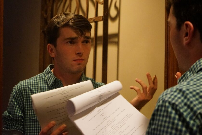"Phillip Magin, a 17-year-old at Canyon Crest Academy, practices acting. Magin is writing, directing and producing a play called ""Lady Windermere'$ FAM"" for the San Diego International Fringe Festival. Courtesy photo"