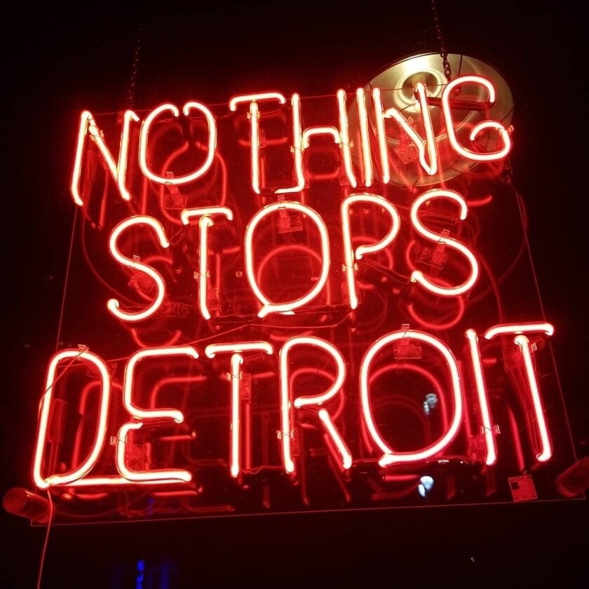Neon sign in downtown Detroit