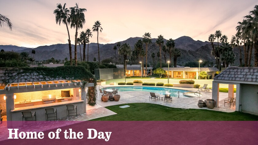 A five-house compound in the desert community of La Quinta includes a swimming pool and a tennis court.