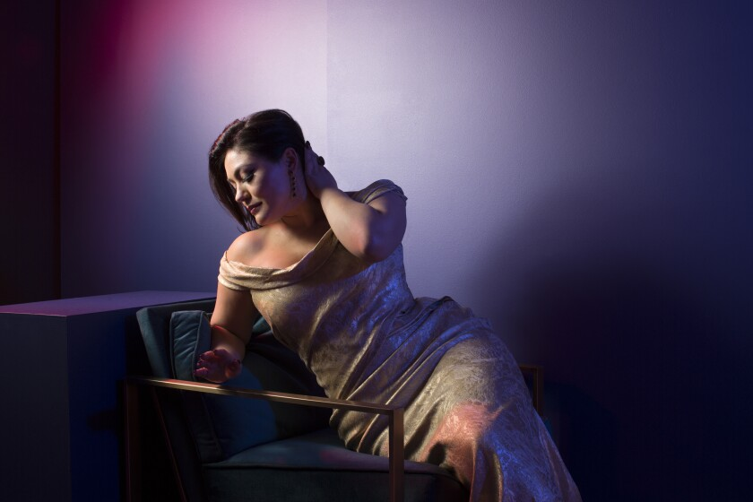 Opera soprano Ailyn Perez, pictured, will perform with tenor Joshua Guerrero in recital as part of San Diego Opera's Detour series on Dec. 11 at the Balboa Theatre.