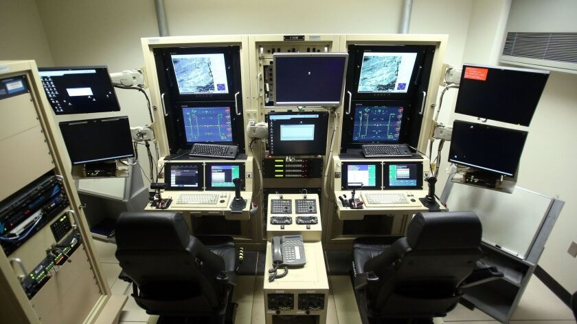 A ground control station cockpit for remotely piloting aircraft is pictured at Creech Air Force Base in Indian Springs, Nev.