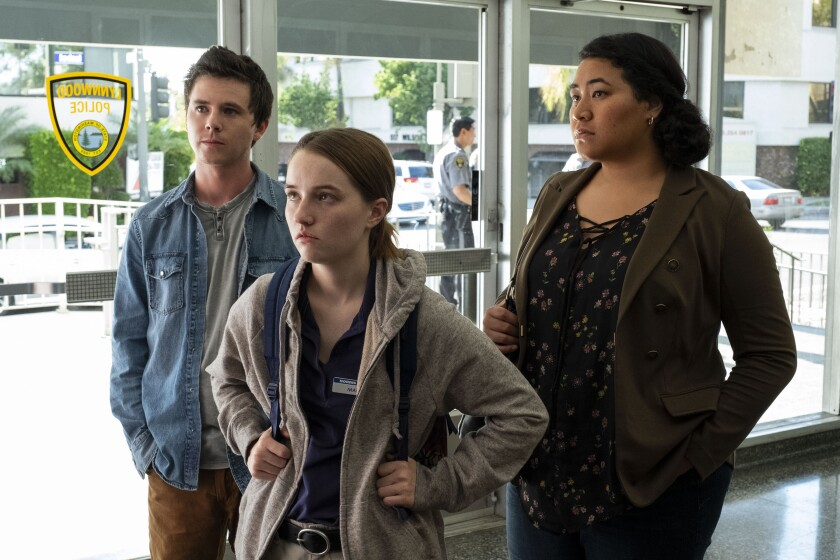 "Charlie McDermott, Kaitlyn Dever, Patricia Fa'asua in a scene from Netflix's ""Unbelievable."""