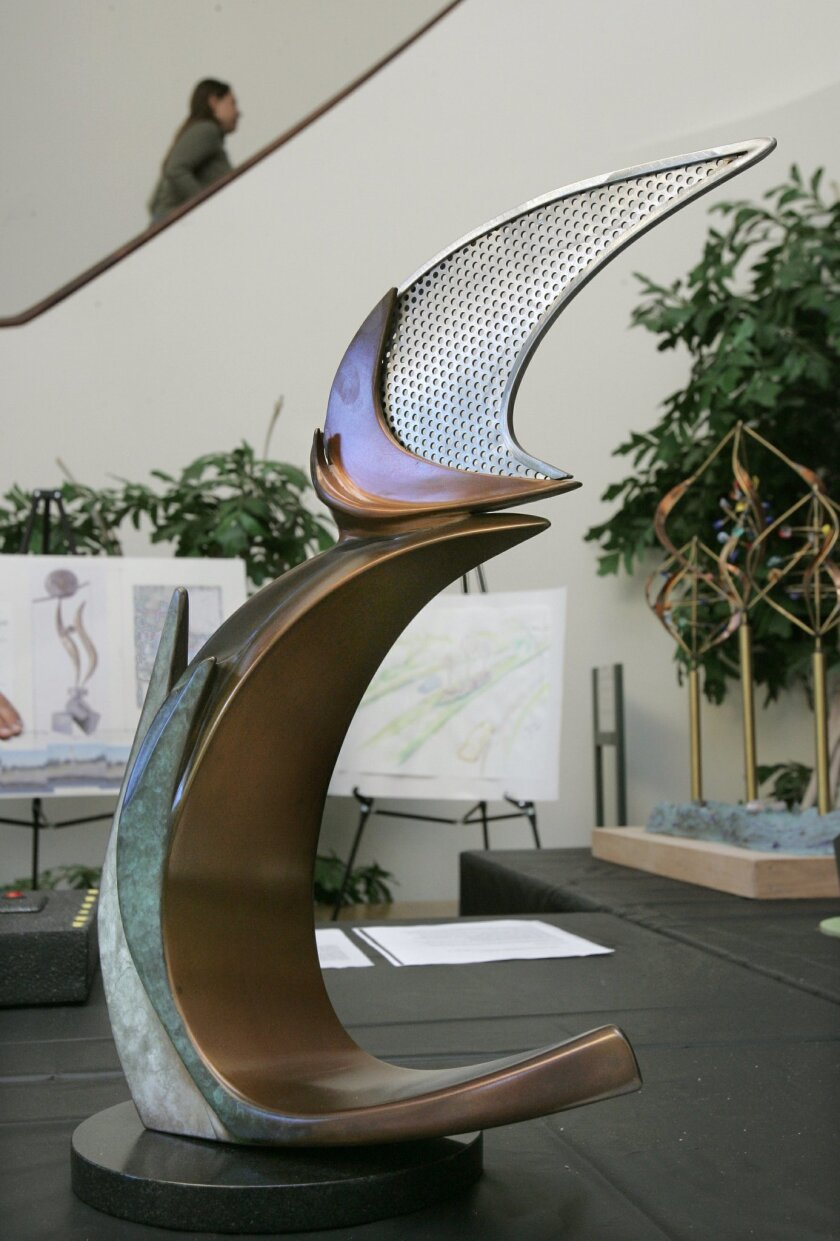 """Escondido's newest public art project, """"New Leaf,"""" was selected in 2007 based on this design model from artist Dan Dykes."""