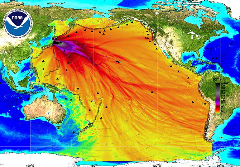 An energy map from the National Oceanic and Atmospheric Administration shows the intensity of the tsunami moving across the Pacific Ocean after the magnitude 9.0 earthquake that struck Japan.