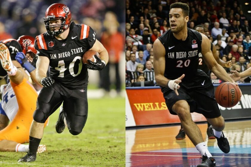 San Diego State fullback Chad Young and forward JJ O'Brien.